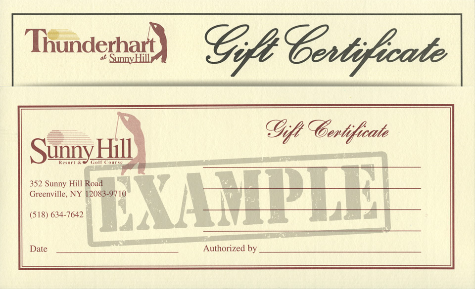 Sunny Hill Gift Certificates